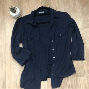 James Perse Navy Button Down Ribbed Top